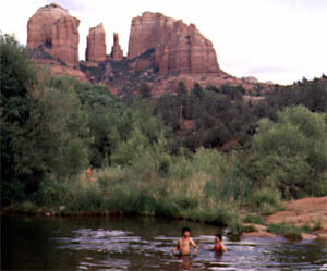 Red Rock Crossing at Crescent Moon with Cathedral Rock in background