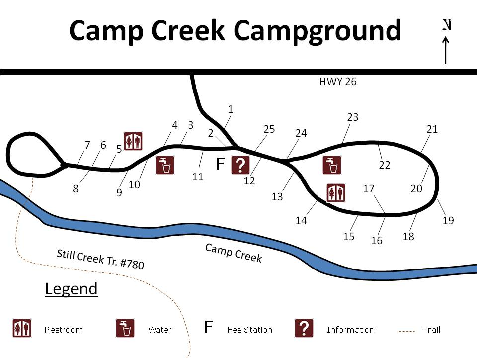 Site map of Camp Creek campground