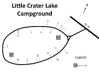 Site map of Little Crater Lake campground