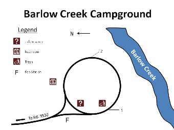 Site map for Barlow Creek campground