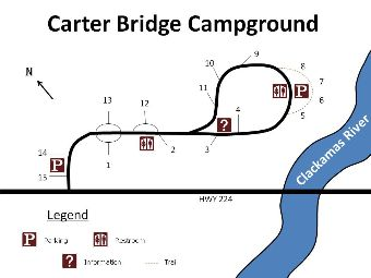 Site map for Carter Bridge campground