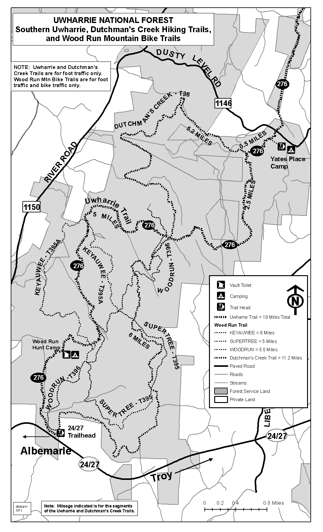 Map includes the southern portion of the Uwharrie Trail, Dutchman's Cr. Trail & all Wood Run Trails