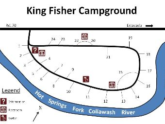 Site map of Kingfisher campground