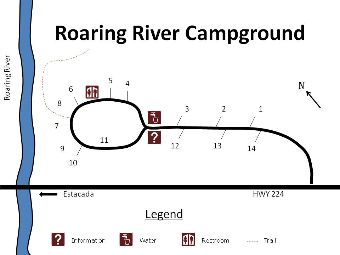 Site map of Roaring River campground