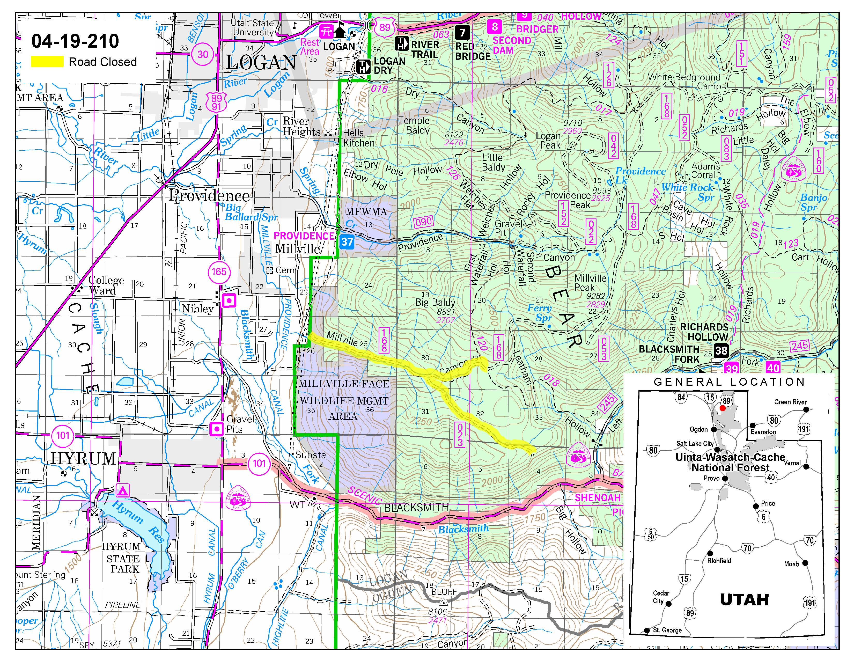 UintaWasatchCache National Forest News Events - Road map of utah