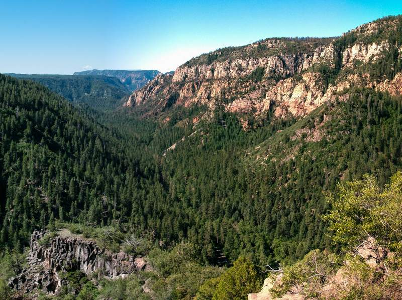 View of a misty Oak Creek Canyon from Oak Creek Vista