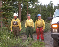 Fire crew out in the forest