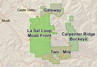 Map of recreation areas on the La Sal Mountains