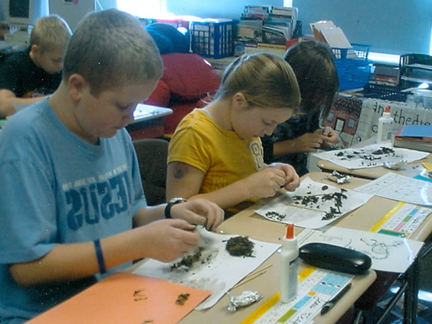 Children dissecting owl pellets