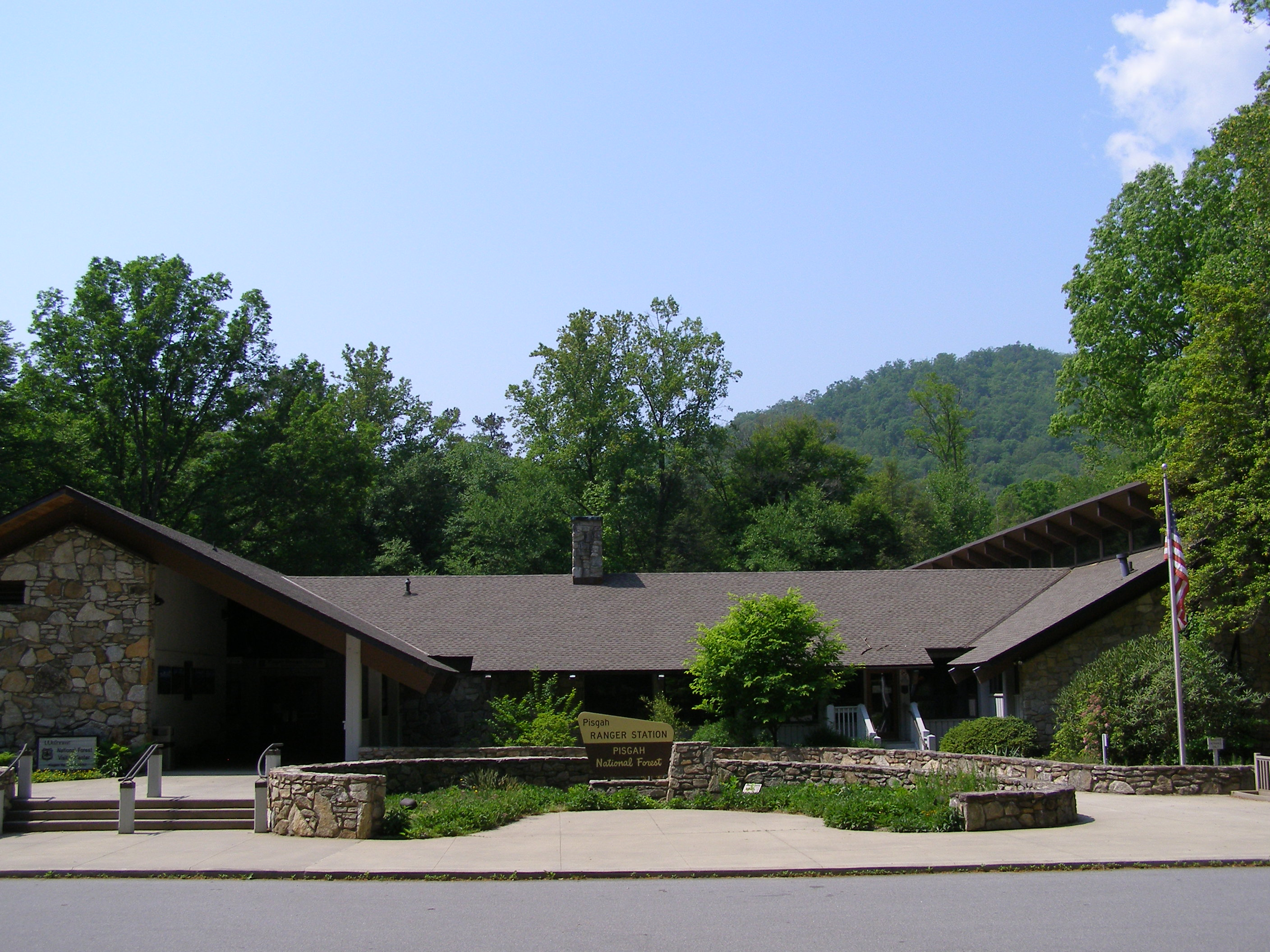 View of the front of the Pisgah Ranger District.
