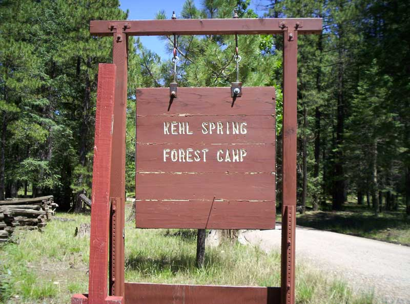 Sign on FR 300 for Kehl Springs Campground