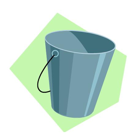 Clipart of a bucket.