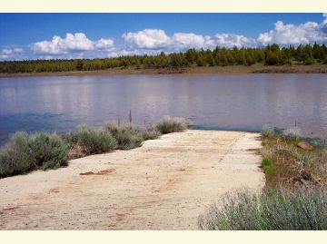 A concrete ramp for launching boats on Big Sage Reservoir.