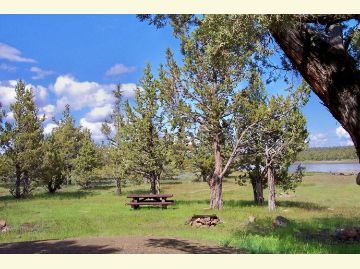 Camping at Big Sage Reservoir means tables, fireplaces and shade trees right on the shore.