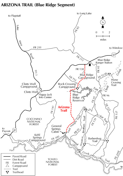 Happy Jack Arizona Map.Coconino National Forest Arizona Trail Passage 27 Blue Ridge