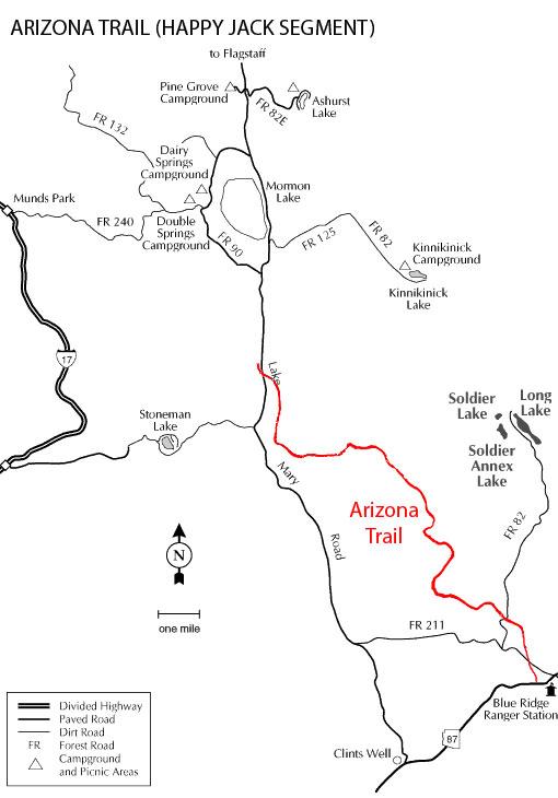 Map Of Highway 87 Arizona.Coconino National Forest Arizona Trail Passage 28 Happy Jack