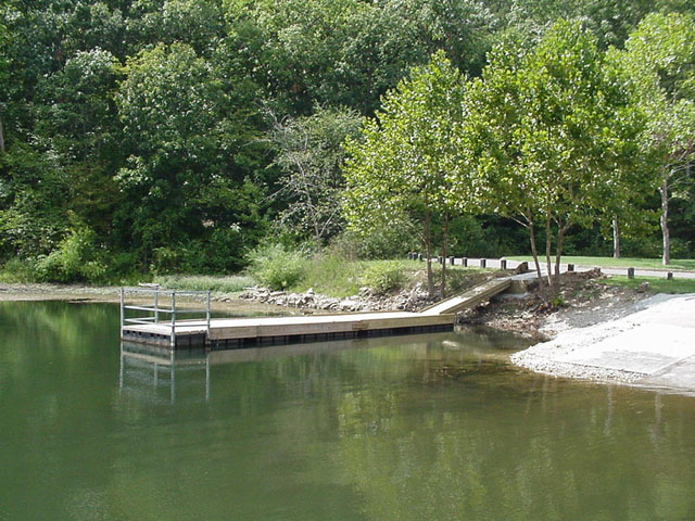 view of the fishing dock along side the boat launch