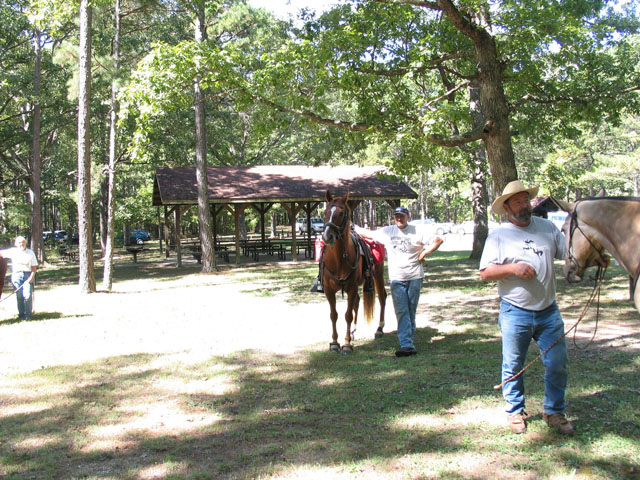 Horseback riders prepare to hit the trail