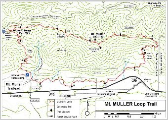 Vicinity contour map of Mt. Muller Trail area.