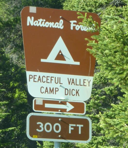 Photo of the sign for Peaceful Valley and Camp Dick located on the side of Highway 7