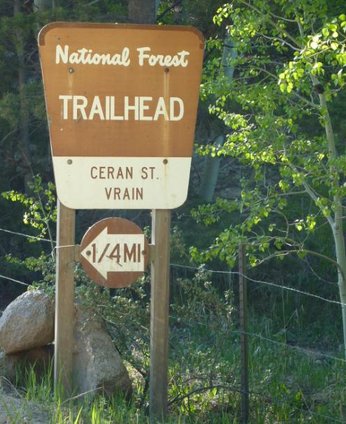 Image of the Ceran St Vrain Trailhead sign located west of Jamestown
