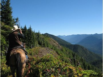 Views on horseback of Lake Crescent from Panorama Point