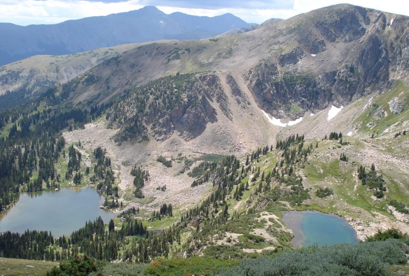 Photo of Forest Lakes taken from the peaks above on the Continental Divide Trail