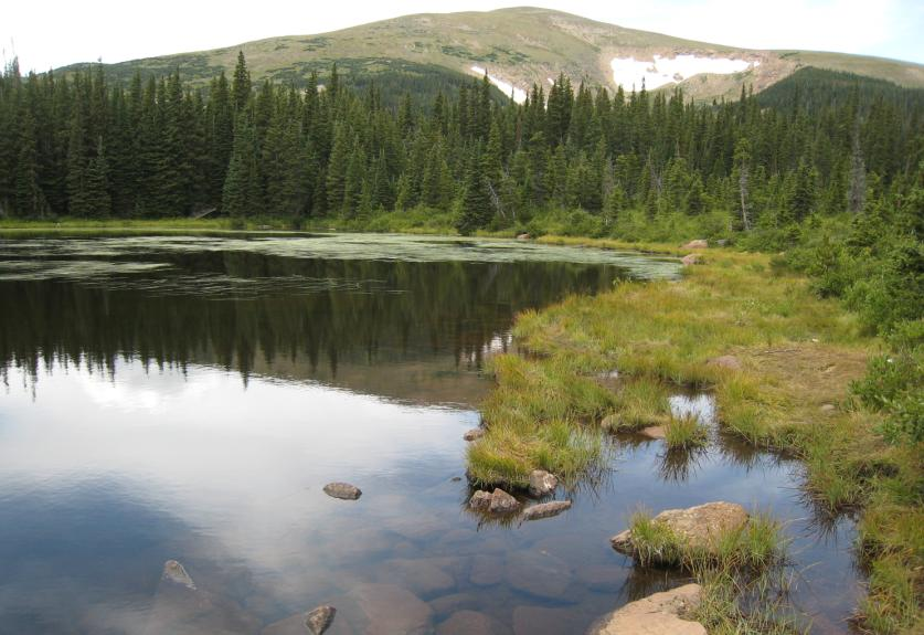 Image showing one of the Rainbow Lakes with a mountain behind the high elevation lake