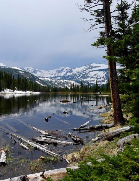Lost Lake in June with snow and views of high mountain peaks (photo courtesy of Nick Turner)
