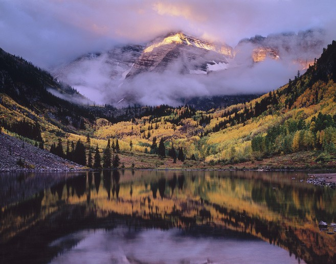 Maroon Lake in Fall as seen in National Geographic_photo by Clifton Carr