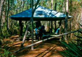 Hikers at the Osceola Shelter