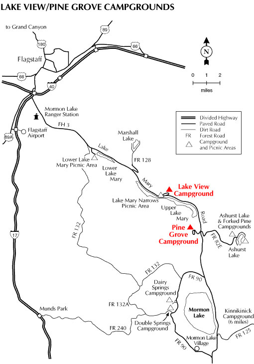 Map to Lake View and Pinegrove Campgrounds