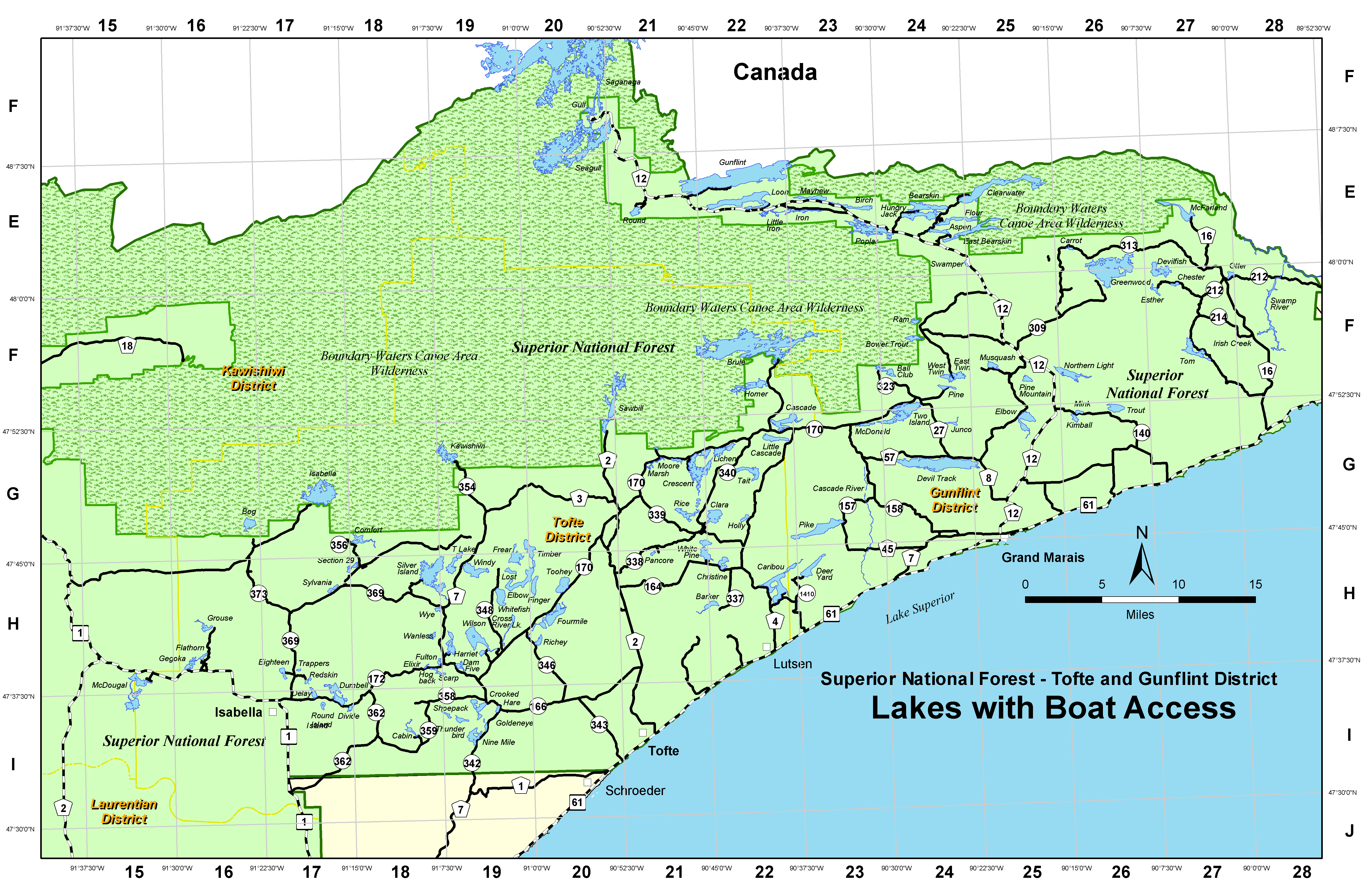 a map of lakes on the tofte and gunflint districts with boat access