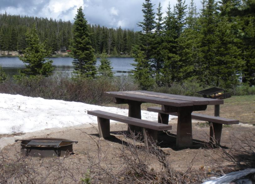 Photo of a picnic table, raised grill, and metal fire pit in front of Brainard Lake