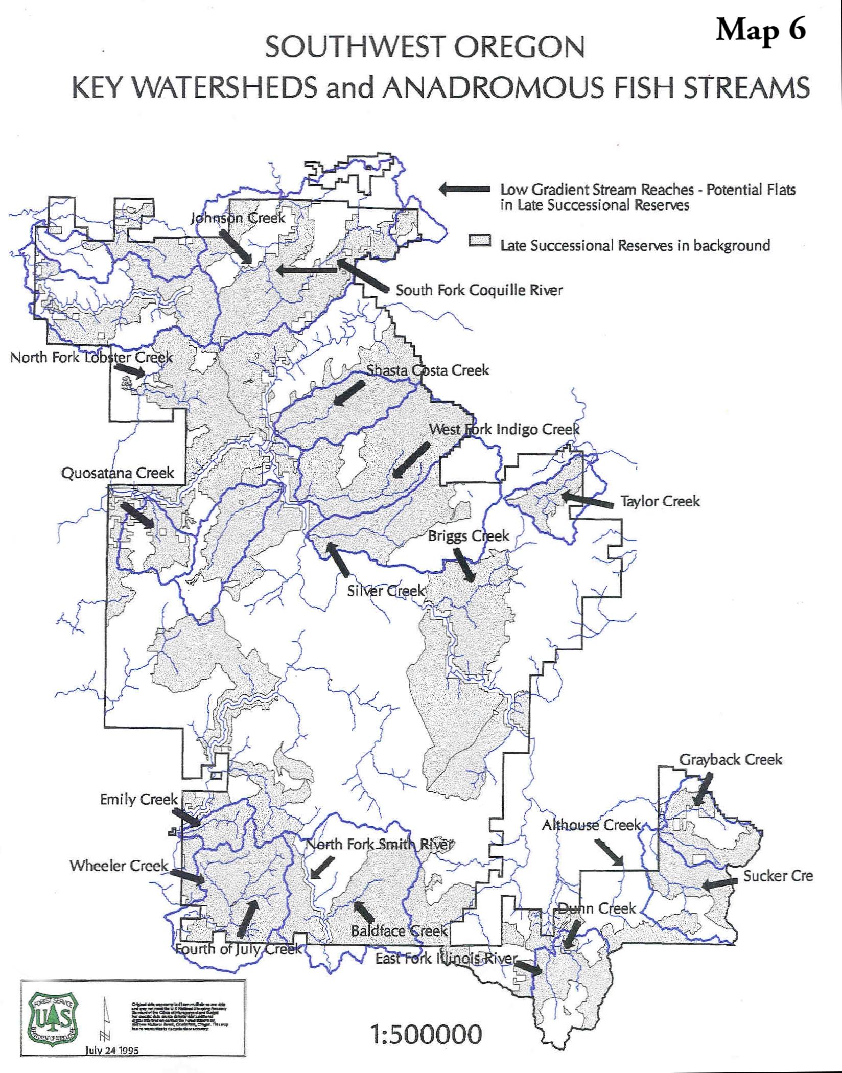 Southwest Oregon - Key Watersheds and Anadromous Fish Streams (1,427 KB JPG) ...