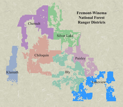 Vicinity map of Fremont-Winema NF. Click on a district to see proposed project locations.