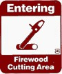 Forest Service Sign indicating the entrance to a firewood cutting area.