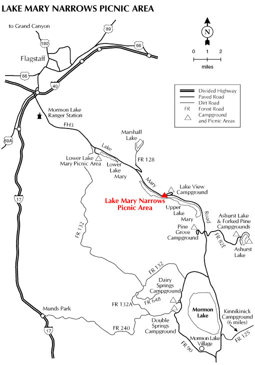 Lake Mary Narrows Picnic Area Map