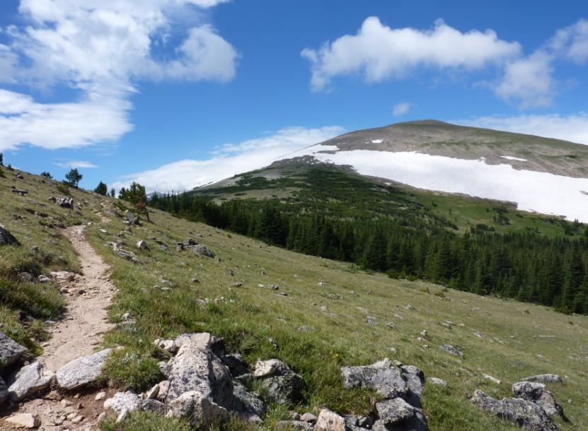 Photo taken in August showing the trail and St Vrain Mountain with a large snow field near the top