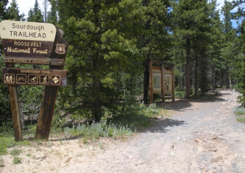 Photo of Sourdough Trailhead sign and trail