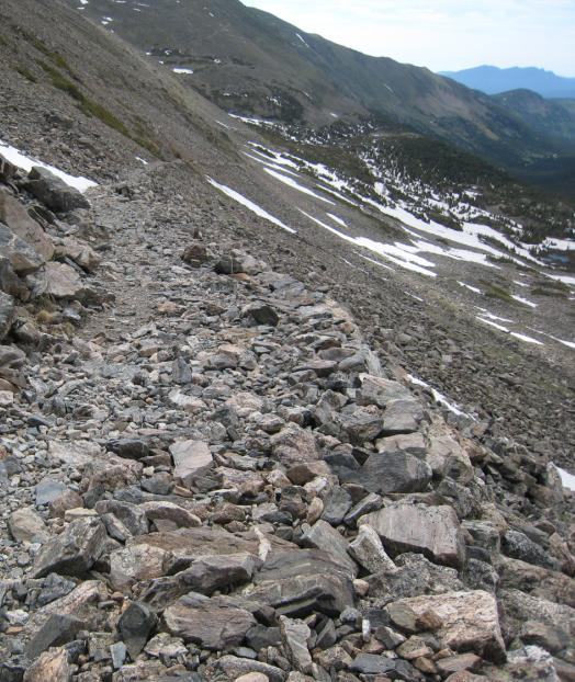 Photo of the Arapaho Pass Trail showing the steep portion above 4th of July Mine
