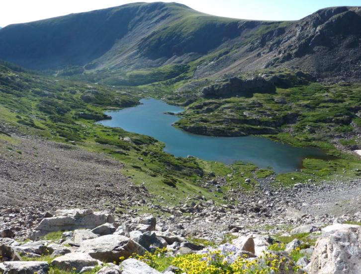 Photo of looking down at James Peak Lake taken from the Ute Trail with flowers