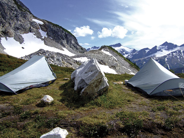 tents sent up in the mountains