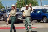 Forest Supervisor and the Warner Mountain District Ranger walk in the Alturas 4th of July Parade.