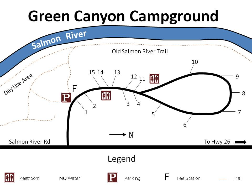 Site map for Green Canyon campground