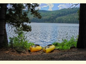 Two yellow kayaks rest under the pines on the shore of Blue Lake.