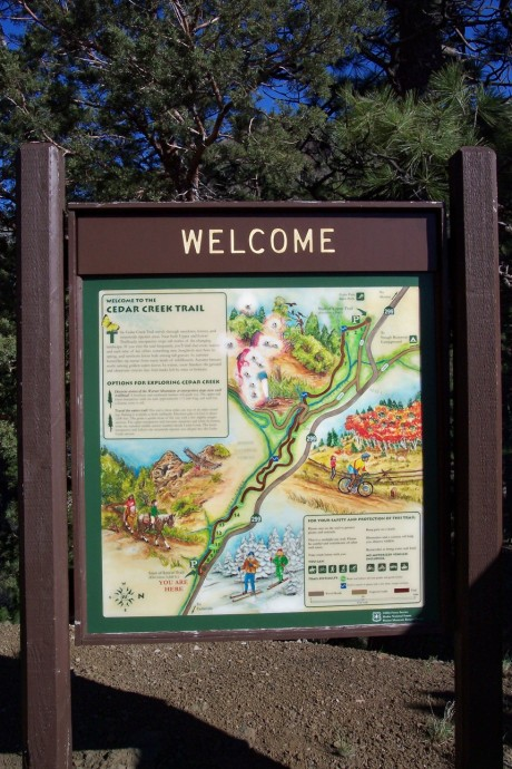 Colorful map of Cedar Creek trail, covenient for all users.