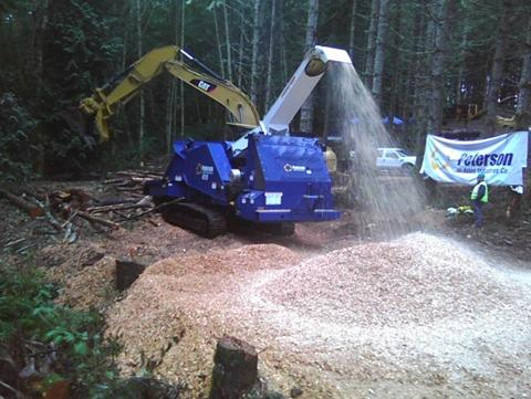 An industrial log chipper working in the Forest