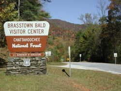 The entrance sign to Brasstown Bald on Highway 180