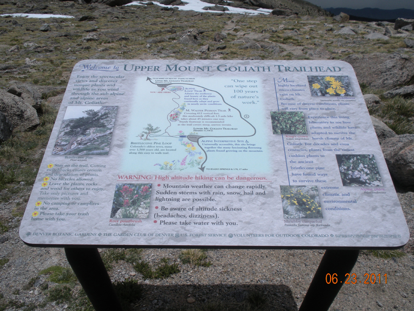 An interpretive sign at the beginning of Upper Goliath trailhead.